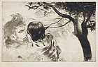 "Louis Legrand, etching, ""Sous les Figuires (Beneath the Fig Trees)"""