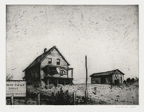 "Armin Landeck, etching, ""Sunset Palace Lodge"" 1938"