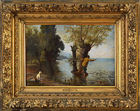 "Francois Vuagnat, oil on canvas, ""At Bellerive, Lake Geneva"" c. 1880"