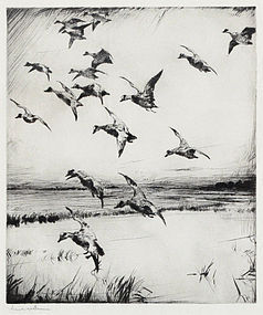 "Frank Benson, etching, ""Here They Come"" 1928"