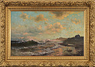 "Mauritz Frederik Hendrik De Haas, oil on canvas ""Heavy Surf at Sunset"""