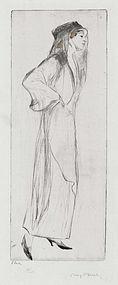 """Max Pollak, etching, """"L'dia"""" c. 1930"""
