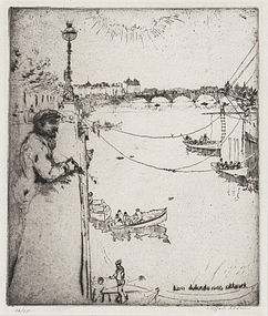 "Clifford Addams, etching, ""Dreamer by the Thames"" c. 1902"