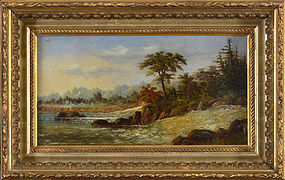 "19th Century American, oil on board, ""Landscape with Waterfalls"""