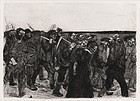 "Kathe Kollwitz, etching, ""March of the Weavers"""