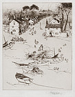 "Stephen Parrish, etching, ""Fishery on the Dee"" 1884"