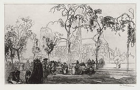 """Auguste-Louis Lepere, etching, """"Notre Dame vue du Quai Montebello"""""""
