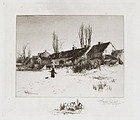 "Stephen Parris, etching, ""A Winter's Day, Windsor, N. S."" 1887"