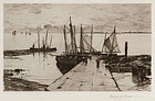 "Charles Adams Platt, etching, ""Pier at Larmor"" 1885"