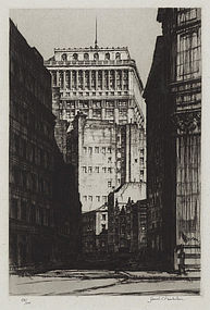 "Samuel Chamberlain, etching, ""The Curving Canyon, New York"" 1929"