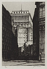 """Samuel Chamberlain, etching, """"The Curving Canyon, New York"""" 1929"""