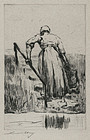 "Lesser Ury, etching, ""Dutch Woman Fetching Water"" 1923"