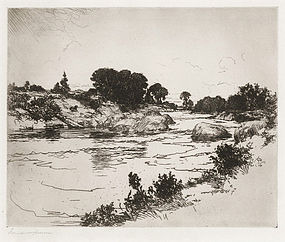 "Frank Benson, etching, ""Rocky River"" 1921"