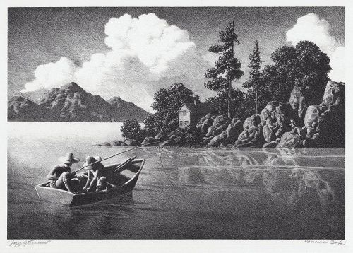 "Hans Bok, lithograph, ""Lazy Afternoon"" c. 1940"