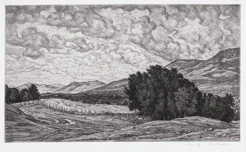 """Luigi Lucioni, etching, """"Vermont Splendor"""" 1944"""