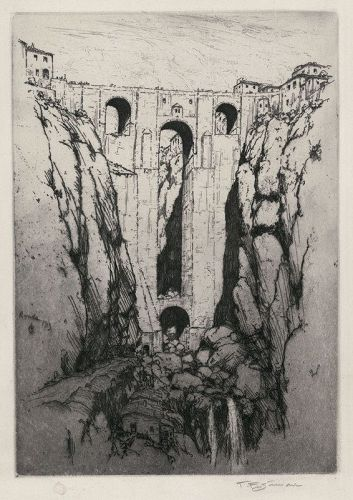 "Tavik F. Simon, etching, ""Puente Nuevo at Ronda- Spain"""