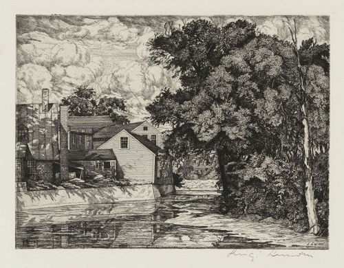 "Luigi Lucioni, etching, ""The Mill"" 1939"
