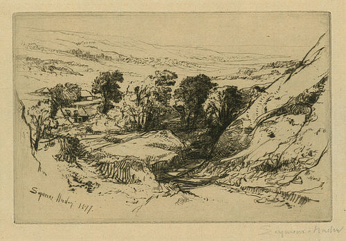 Sir Francis Seymour Haden, etching, Nine Barrow Down, 1877.