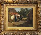Johann Scherrewitz, oil, Milkmaid With Cows, c. 1905