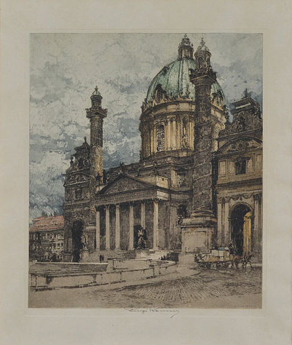 "Luigi Kasimir, etching, ""Charles Church, Vienna"" 1925"