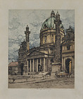 "Luigi Kasimir, etching, ""Charles Church, Vienna"" 1925"