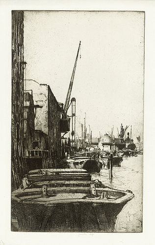 """Ernest Stephen Lumsden, etching, """"Rotherhithe"""", 1921"""