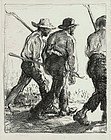 "Edmund Blampied, lithograph, ""Itinerant Farmers"", c. 1920"
