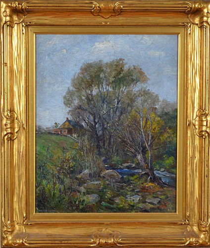 """Summer Landscape"", oil on canvas, Wells Sawyer, c. 1910."