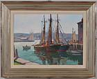 """Rockport Harbor"", oil on board, Arthur Herrick, c. 1940."