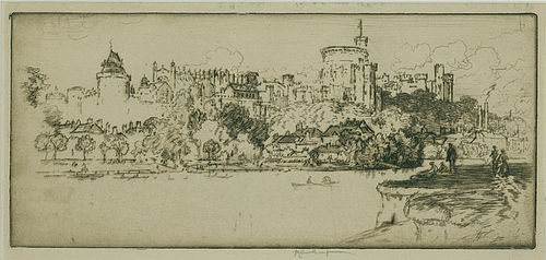 """Windsor from Eton"", etching, Joseph Pennell, 1903."