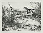 """""""His First Point"""", etching, Joseph Schaldach."""