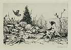 """Mark!"", etching, Joseph Schaldach, 1930."