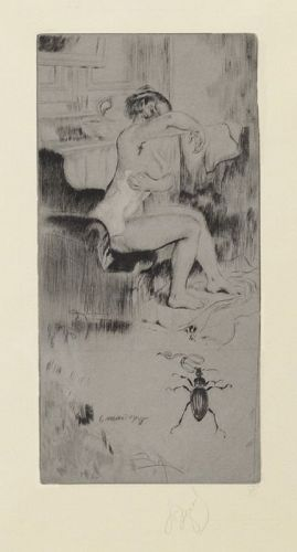 "Louis Auguste Mathieu Legrand, Etching, ""La Toilette"" 1908"