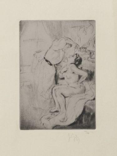 """Louis Auguste Mathieu Legrand, Etching, """"La Camériste"""" 1909"""