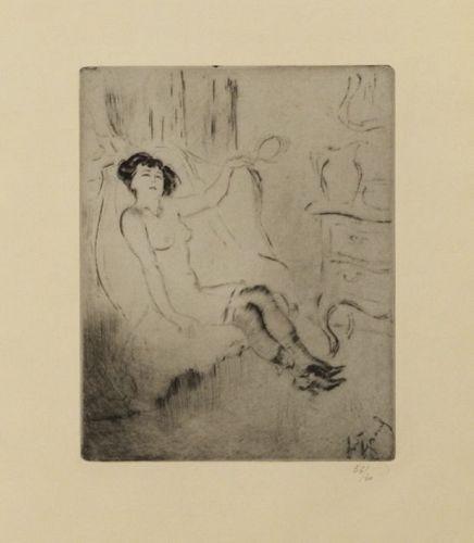 """Louis Auguste Mathieu Legrand, Etching, """"Poupée (Doll)"""" 1911"""