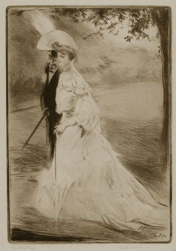 "Edgar Chahine, Etching, ""En Promenade,"" 1905"