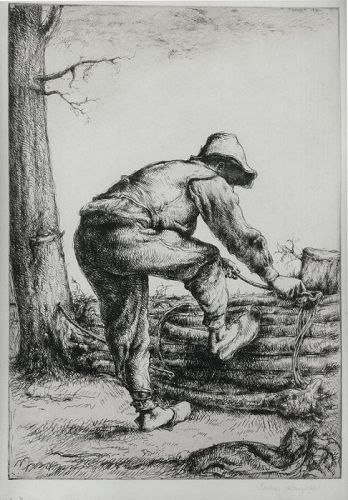"Julius Komjati, etching, ""Woodcutter"","