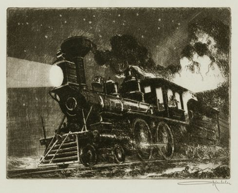 "Otto Kuhler, etching, ""The Fast Mail"""