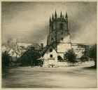 "Mortimer L. Menpes, etching, ""Goring Church, Goring-on-Thames"""