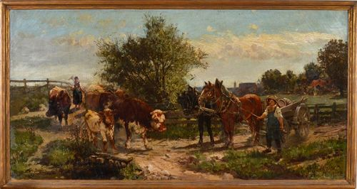 "William Preston Phelps, Oil on canvas, ""Cattle Crossing"""