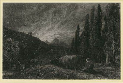 "Samuel Palmer, etching, ""The Early Ploughman"""