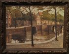 "20th Century Dutch School, Oil on Canvas, ""Amsterdam Canals"""