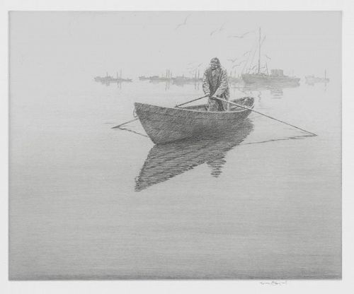 "Harold Kerr Eby, etching, ""The Lobster Fleet,"" 1937"