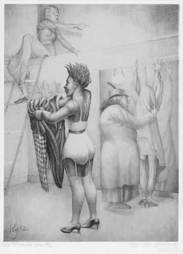 "Kyra Markham, lithograph, ""The Fit Yourself Shop"""