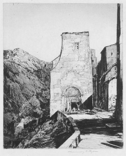 """Chauncey Foster Ryder, etching, """"European Village Scene"""""""