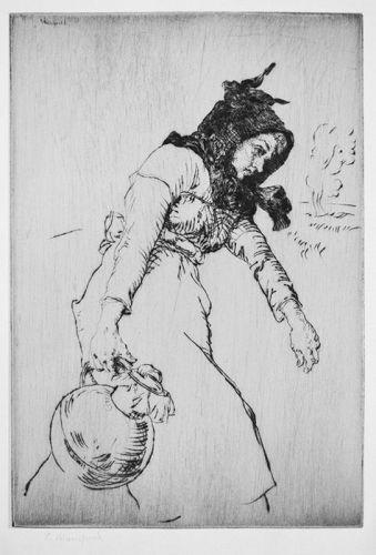 "Edmund Blampied, etching, ""Jersey Milkmaid"""