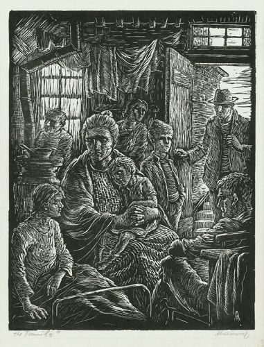 "Albert Abramovitz, woodblock, ""The Family"""