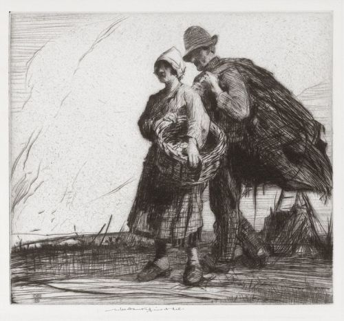 "William Lee Hankey, etching, ""Evening"""