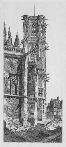 "John Taylor Arms, etching, ""Cathedral, Nevers"""