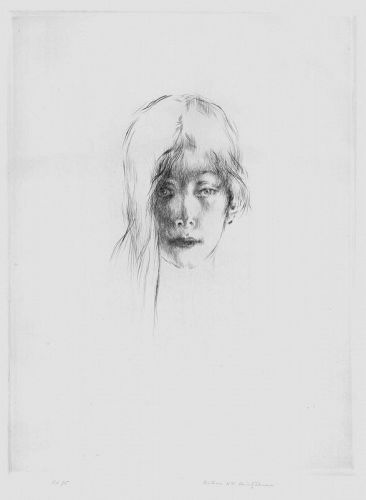 """Arthur Heintzelman, etching, """"La Femme à la Mêche Tombante"""""""
